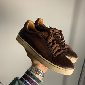 Magnanni brown leather sneakers